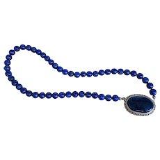 Vintage Art Deco Lapis Lazuli Sterling Silver Pendant Necklace