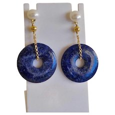 Chinese Lapis Lazuli Gold Vermeil Cultured Pearl Earrings