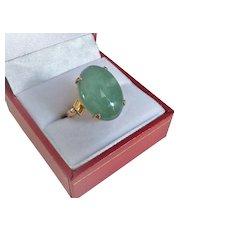 Vintage 14k Translucent Green Jadeite Ring Size 6.75