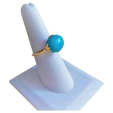 Vintage Chinese Export 14 kt. Sleeping Beauty Turquoise Ring Size 7.25