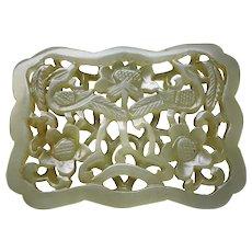 Antique Chinese Qing Nephrite Jade Carved Openwork Phoenix Plaque Pendant
