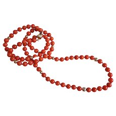 "14k Sardinian Red Coral Necklace  23 "" Length"