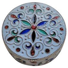 1900's Russian Cloisonne Enamel  800 Silver Gilt Pill Box