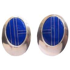 Art Deco Sterling Silver Large Oval Earrings Pierced Ears