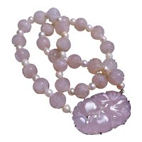 Chinese Art Deco Cultured Pearls Shou Rose Quartz Sterling Necklace
