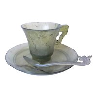 Chinese Antique 1890 Qing Dynasty Transparent Nephrite Jade Cup & Saucer Dragon Spoon.