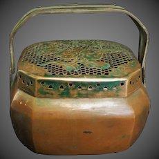 Antique 1910 Qing Dynasty Chinese Copper Shou Lu Hand Warmer