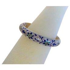 Vintage Chinese Sterling Silver Blue Green Enamel Engraved Bracelet