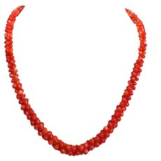 Vintage Red Coral Necklace Sterling Clasp