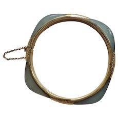 Vintage 1960's Chinese Export Translucent Green Jade Vermeil Sterling Bracelet