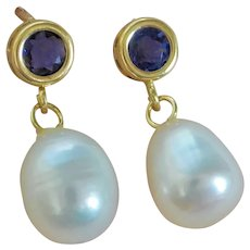 Iolite Cultured Freshwater Pearls 14 Karat Yellow Gold Earrings