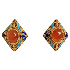 Art Deco Chinese Export 1920's Carnelian Filigree Enamel Gold Vermeil Earrings