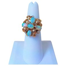 Vintage Australian Opals Diamonds 14k Yellow Gold Ring Size 6.25