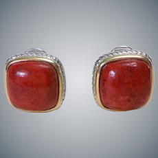 Red Coral Gold Vermeil Sterling Silver Earrings