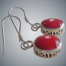 Vintage Silpada Sterling Silver Red Earrings Retired Design