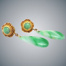 1920's Chinese Export Art Deco Apple Green Jadeite Gold Vermeil Filigree Earrings