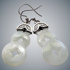 Vintage 1900's Chinese Export Translucent Jadeite Sterling Silver Earrings