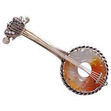 """1920's Chinese Art Deco Carnelian Sterling Banjo Brooch 3"""" Long"""
