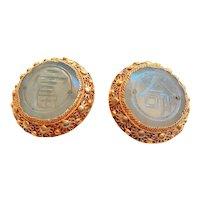 Chinese Export Art Deco Nephrite Gold Vermeil Filigree Earrings