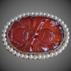 Chinese Export Carnelian Gold Vermeil Sterling Filigree Brooch Pin