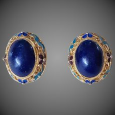 Art Deco Chinese Lapis Lazuli Filigree Enamel Gold Vermeil Earrings
