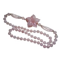 Vintage Chinese Export 1970's Rose Quartz Carved Necklace