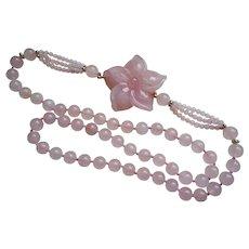 Vintage Chinese Export 1970's Rose Quartz Carved Necklace