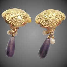 Chinese Export Amethyst Gold Vemeil Earrings