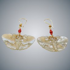 Carved Jade Moth Ox Blood Coral Gold Vermeil Earrings