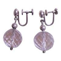 Vintage 1920's Art Deco Rock Crystal Sterling Silver Earrings