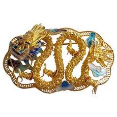 Vintage 1940's Chinese Export Sterling Gold Gilt Filigree Enamel Dragon Brooch Pin