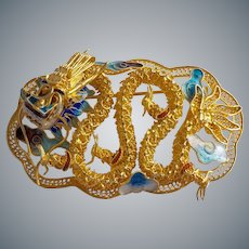 Vintage 1940's Chinese Export Sterling Gold Gilt Filigree Enamel Dragon Brooch Pin