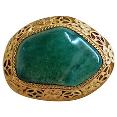 Chinese Export Imperial Green Aventurine Filigree Gold Vermeil Brooch Pin