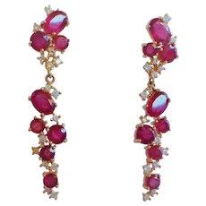 Genuine Ruby Cubic Zirconia Gold Vermeil Earrings
