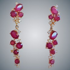 Genuine Ruby Cubic Zirconia Gold Vermeil Earrings