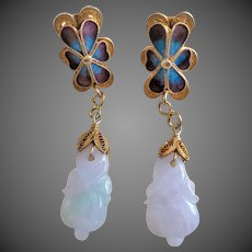 Antique Qing Dynasty Lavender Jadeite Enamel Filigree Earrings