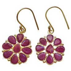 Genuine 6 Carats Ruby Earrings Gold Vermeil Hooks Pierced Ears