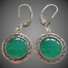 Art Deco 1920's Translucent Emerald Green Chrysoprase Sterling Silver Earrings