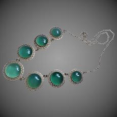 Art Deco 1920's Translucent Chrysoprase Sterling Silver Necklace