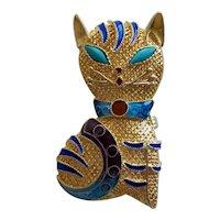 1940's Chinese Export Enamel Gilt Sterling Kitten Brooch Pin/Pendant Turquoise Eyes