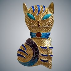 1940's Chinese Export Enamel Gilt Sterling Kitten Brooch Pin/Pendant Turquoise Eyes