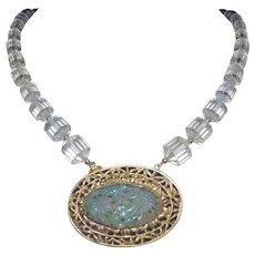 Antique 1850-1899 Qing Dynasty Rock Quartz Crystal Jadeite Vermeil Necklace