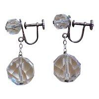 Vintage Art Deco 1920's Faceted Rock Quartz Crystal Earrings