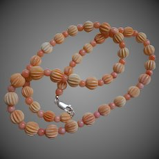 Vintage Carved Coral Necklace Sterling Clasp