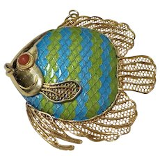 Chinese Export Coral Enamel Gold Vermeil Sterling Filigree Fish Brooch Pin