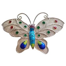 1940's Chinese Export Enamel Sterling Filigree Butterfly Brooch Pin