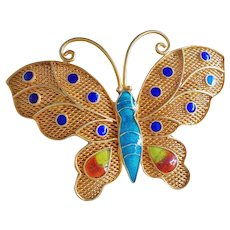 1940's Chinese Export Enamel Gold Gilt Sterling Filigree Butterfly Brooch Pin