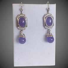 Vintage Chinese Export 1970's Lavender Jadeite Sterling Silver Earrings