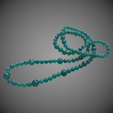 "Translucent Emerald Bluish Green Chrysoprase Necklace 34"" Length"