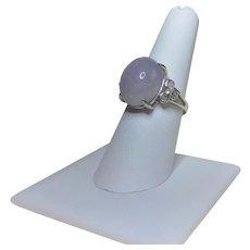 Lavender Translucent Jadeite Cubic Zirconia Sterling Ring Size 7.5